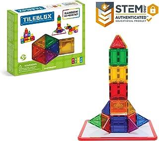 Tileblox Rainbow (30 pieces) with Magnetic Activity Board Magnetic Building Blocks, Educational Magnetic Tiles Kit , Magnetic Construction STEM Toy Set