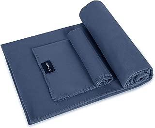 TOPLUS Yoga Towel - Sweat Absorbent Non-Slip Hot Yoga Towel + Hand Towel 2in1 Set, Microfiber, Super Soft, Best Yoga Mat Towel for Bikram Hot Yoga, Pilates, with Carry Bag