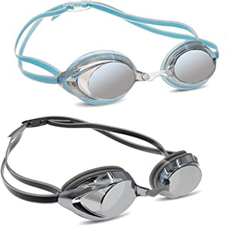 Mieny Mirrored Vanquisher Swim Goggles,Goggles Swimming, Anti-Glare, Panoramic Swim Goggles, for Adult Men Women Youth