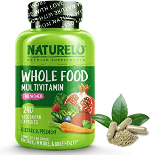 NATURELO Whole Food Multivitamin for Women - Natural Vitamins, Minerals, Raw Organic Extracts - Supplement for Energy and ...