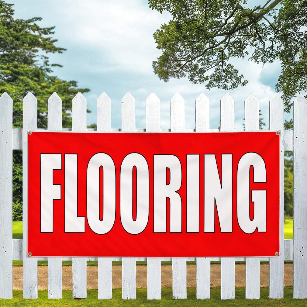 Vinyl Banner Multiple Sizes Flooring Red Home Remodeling Business Outdoor Weatherproof Industrial Yard Signs Red 10 Grommets 60x144Inches