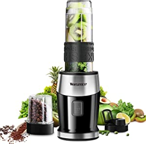 Blender Personal Blender 2-in-1 Smoothie Maker, Willsence 20 oz One Button Operation Mixer for Ice and Hard Ingredients Includes Stainless Steel Blades, Protective Sleeve, 24,000 RPM/Min, 300W
