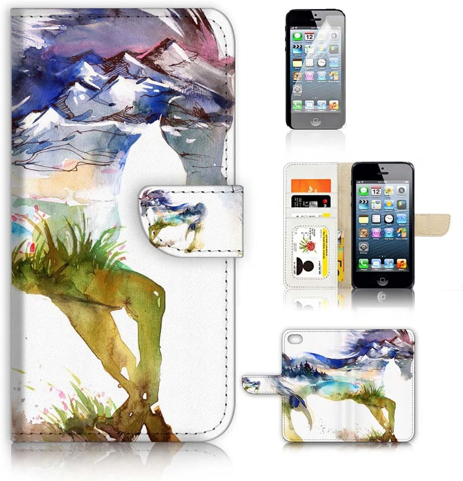 (for iPhone 6 Plus/iPhone 6S Plus) Flip Wallet Case Cover & Screen Protector Bundle - A20275 Abstract Horse