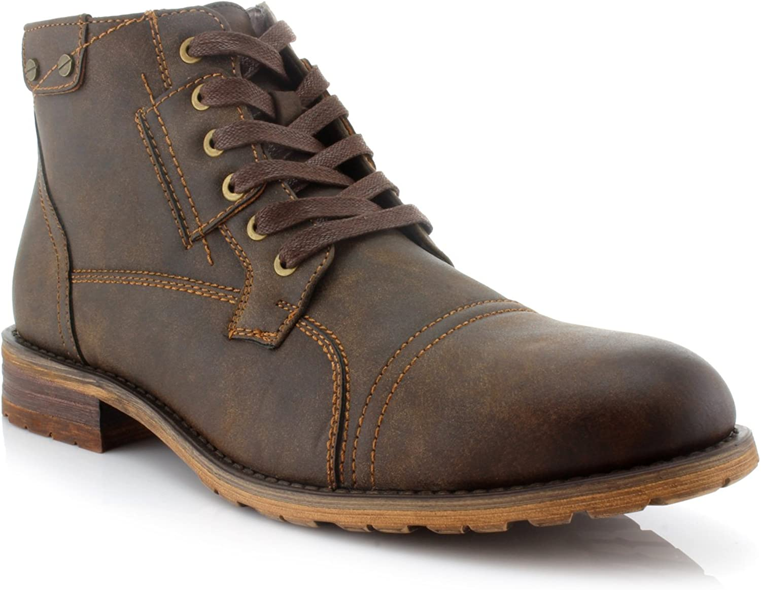 Polar Fox Ronny MPX806037 Mens Casual Work Lace Up Classic Motorcycle Combat Boots