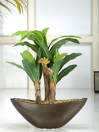 Fourwalls Range Artificial Banana Plant Ceramic Vase (ABT28CMBANANA/30LVS/1475/GRN)