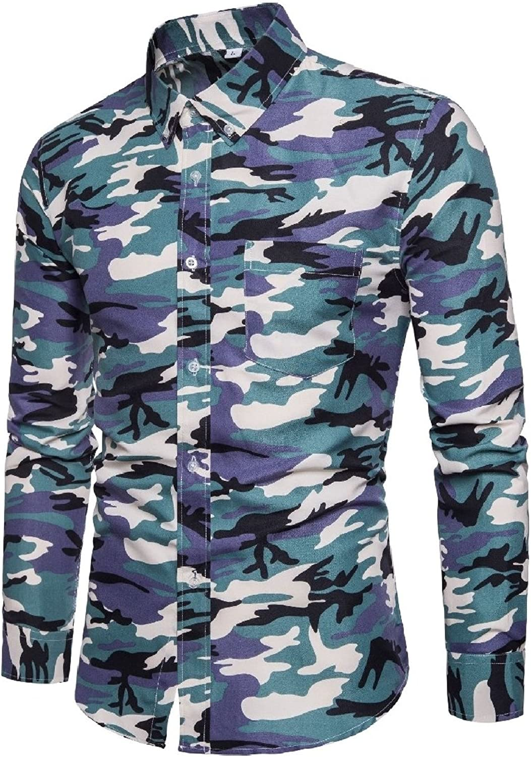 d742a1e9e29e2e GodeyesMen Godeyes Men's Stylish Stylish Stylish Button Down Tops  Long-Sleeve Long Sleeve Printed Fitted Camo Lapel Shirts fe5318