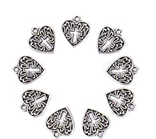 Monrocco 100 Pack Antique Silver Alloy Metal Heart Cross Charms Bulk for Bracelets Jewelry Making
