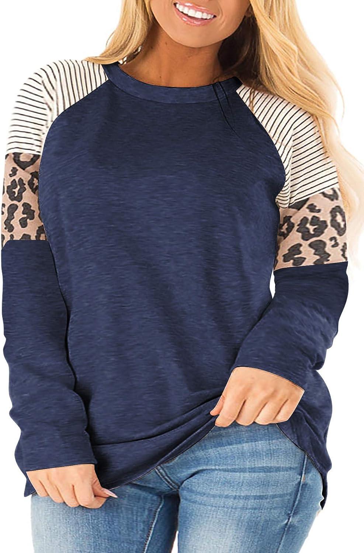 LANREMON Plus Size Tops Women Leopard Printed Long Sleeve Top Crewneck Color Block Tunic T Shirts Blouse