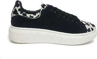 Sneakers Donna in Crosta di Camoscio ed Ecopelo Animalier (Made in Italy) 37 EU