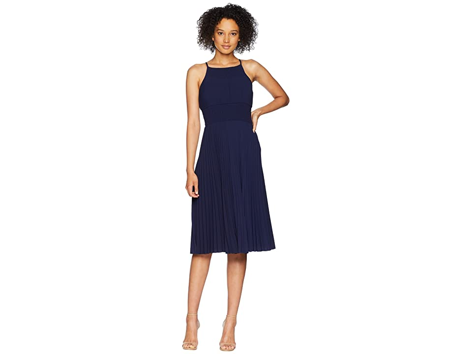 Maggy London Catalina Crepe Pleated and Smocked Sun Dress (Galaxy Blue) Women