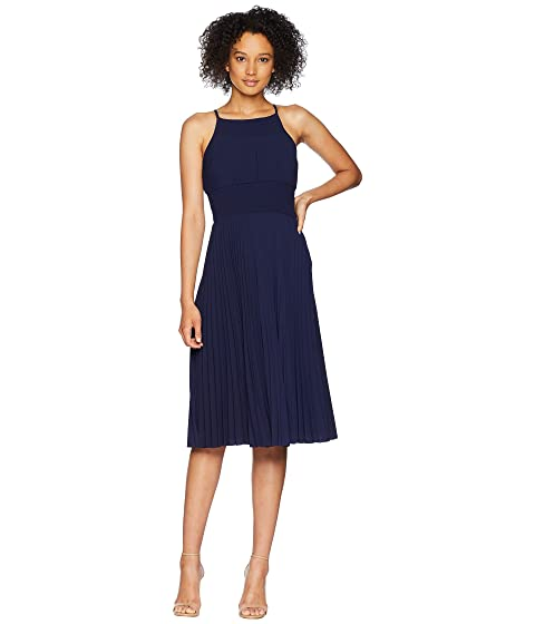 Catalina Crepe Pleated And Smocked Sun Dress, Galaxy Blue