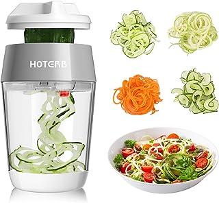 HOTERB Coupe Légumes Spirale,4 en 1 Spiralizer Legume Mandoline de Cuisine pour Spaghettis de Courgettes,Spirale de Légume...