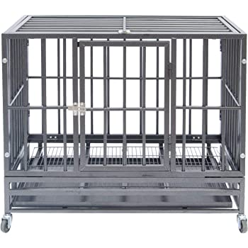 Polar Aurora Pet Dog Cage Heavy Duty Strong Metal Crate Kennel Playpen w/Lockable 4 Wheels&Tray