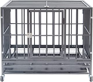Polar Aurora Heavy Duty Pet Dog Cage Strong Metal Crate Kennel Playpen w/Lockable Wheels&Tray
