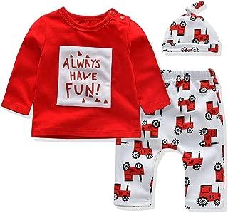 Baby Boys and Girls Pajamas Long Sleeve Tshirt Pants Hat 3PCS Clothing Sets for 0 to 24 Months Babyo