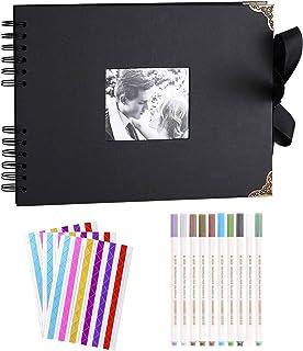 KnSam Album Photo Scrapbooking Noir pour Photo 10x15 cm ou plus, Album Photo Vierge 80 Pages Livre Photo Mémorable Souveni...