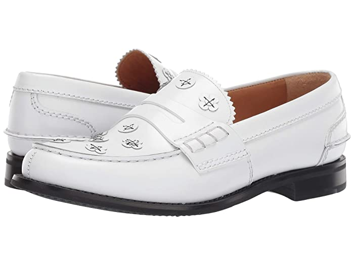 1940s Mens Shoes | Gangster, Spectator, Black and White Shoes Churchs Pembrey Flower Loafer White Womens Slip on  Shoes $344.25 AT vintagedancer.com