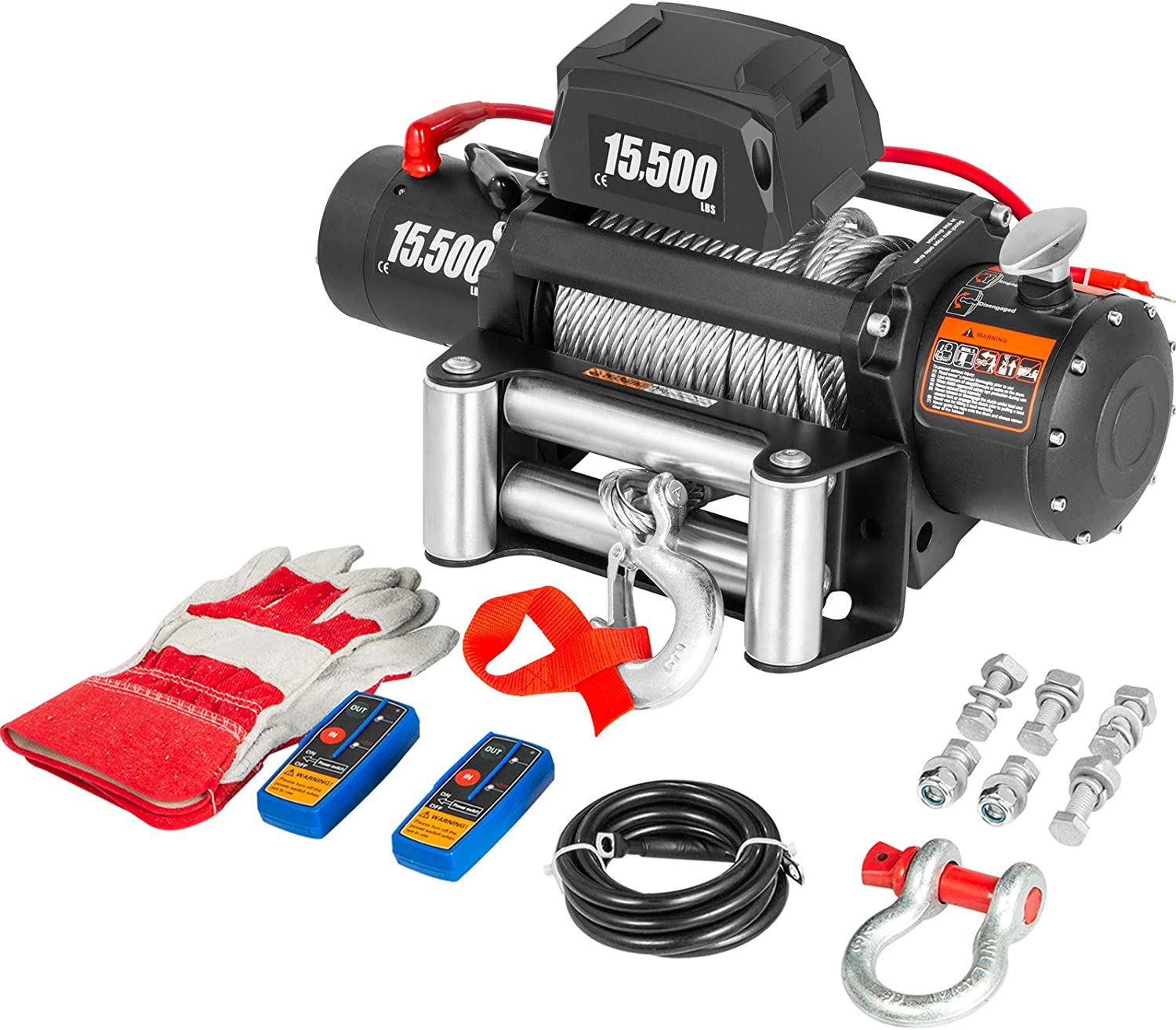 VEVOR Truck Winch NEW 15500Ibs Electric Cable Spring new work 12V 93.5ft Steel