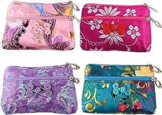 4pc Chinese Silk Brocade 2 Zipper Purse Jewelry Pouch Bag Value Set