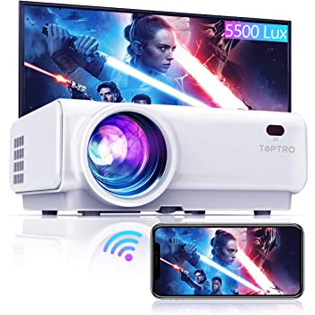 "TOPTRO WiFi Projector,5500 Lumens Bluetooth Projector,Support 1080P Home Video Projector,200"" Display,HiFi Speaker Compatible with TV Stick/Phone/Laptop/PS4/SD/USB/VGA/HDMI"