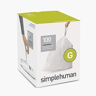 simplehuman Code G Custom Fit Drawstring Trash Bags, 30 Liter / 8 Gallon, White, 100 Count