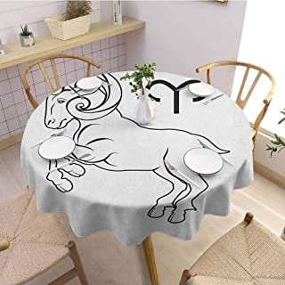 Zodiac Aries Tablecloth Monochrome Hand Drawn Style Jumping Horned Animal and Horoscope Sign Picnic Table Clips for Tablecloth 71 Inch Round Black and White