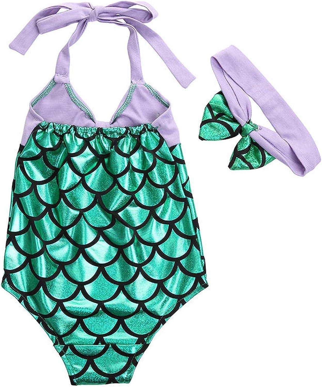 Kids Girl One-Piece Suits Big Scales Swimwear Bikini Set Swimsuit Bathing Suit 2Pcs