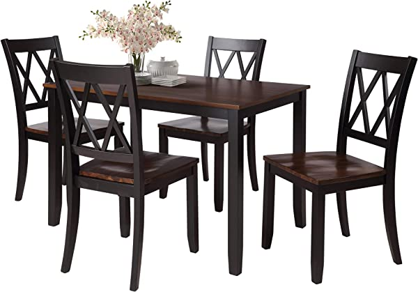 Rhomtree Dining Room Table And Chairs 5Pieces Wood Kitchen Dining Set Dinette Set For 4 Person Black
