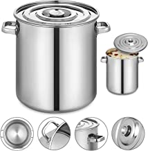 Mophorn Kettle Stockpot Stainless Steel 8.5Gal with Lid for Home Brew and Stock Pot Cookware, 35 Quart With