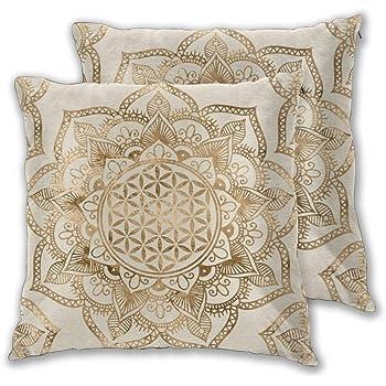 Liu & Bag - Funda de cojín de algodón con diseño de flor de la vida en loto, color dorado pastel y lienzo, cuadrada, para sofá, 45 x 45 cm, 2 unidades: Amazon.es: Hogar