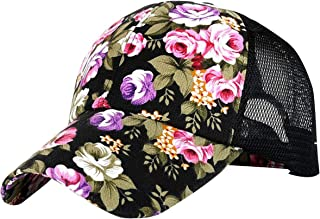 Womens Rose Flower Net Hat Trucker Ponycap Plain Baseball Cap Adjustable Size Girls Sun Hat