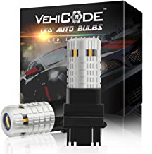 VehiCode Super Bright 3800 Lumens 21W 3157 (3156/3457/3057/4157/4114) LED Light Bulb (Amber/Yellow) Built-in Resistor No Hyper Flash CanBus Error Free Replacement for Turn Signal Light (2 Pack)