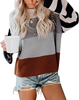 Women Crew Neck Sweaters Long Sleeve Pullover Blouses Color Block Knitted Tops Loose Striped Shirts