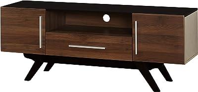 "The Mezzanine Shoppe Ashfield Mid Century 2 Door Living Room TV Stand, 59.25"", Black"