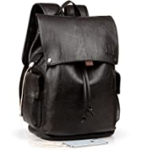 Men's Backpack with USB Leather Waterproof Backpack College Bookbag Laptop