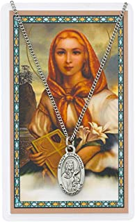 Saint Dymphna 7/8-inch Pewter Medal Pendant with Holy Prayer Card