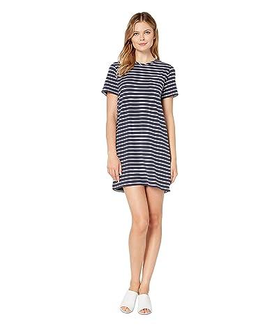 Lilla P Short Sleeve Jersey Stripe Pocket Dress (Ink Stripe) Women