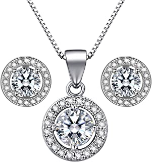 Beydodo Necklaces Wedding Women Womens Pendants Sterling Silver Double Fishes Round Cubic Zirconia