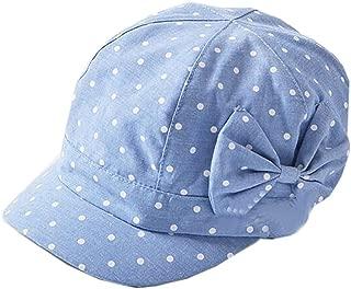 Baby Girls Cute Polka Dot Bowknot Denim Cotton Cap Sun Hat(1T-4T)