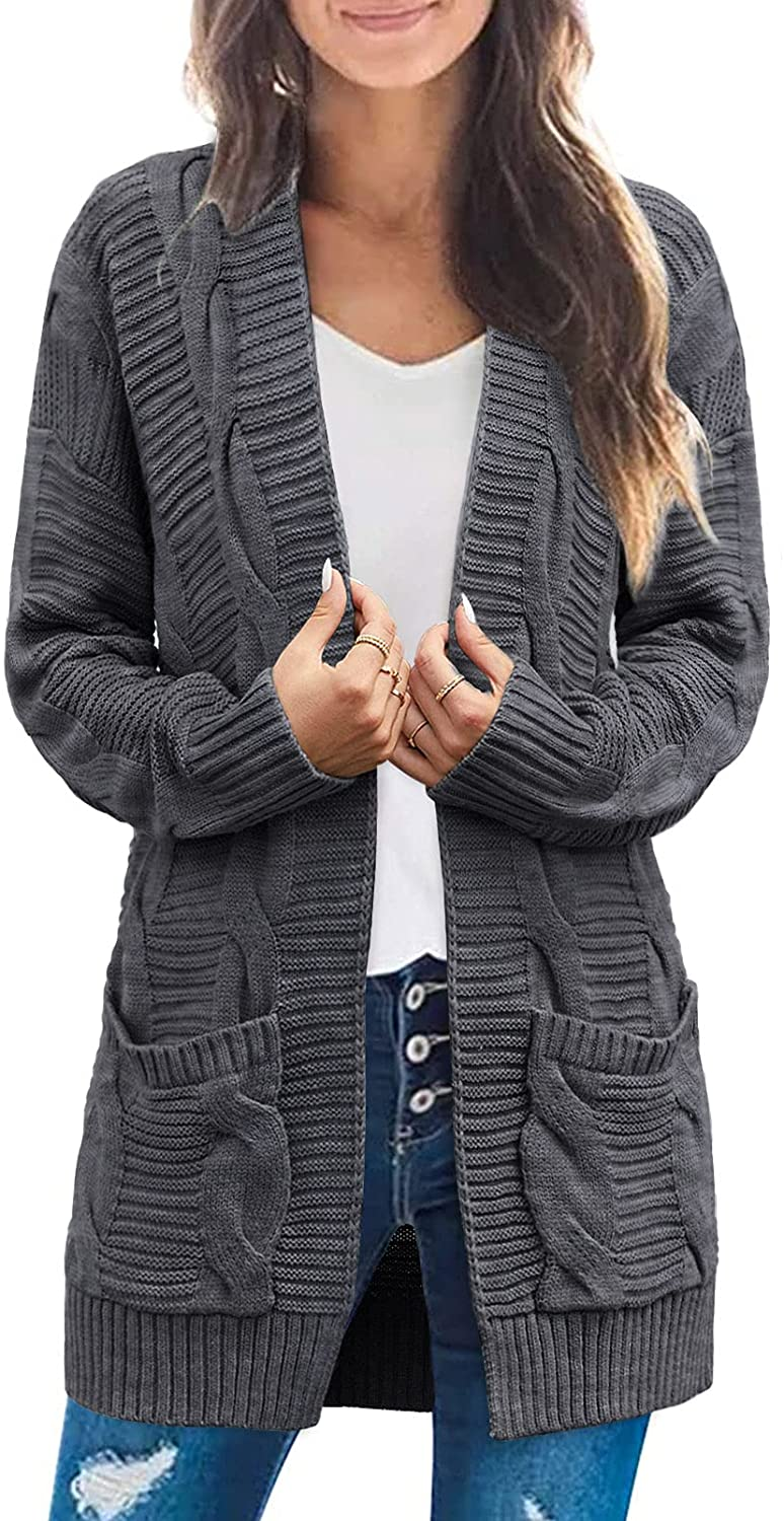SYZRI Women'sCable Knit Open Front Cardigan Long Sleeve Chunky Sweaters Outwear