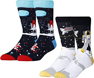 Afader Men's Novelty Solar System & Astronaut Patterns Crew Socks for Men Cool Space & Rocket Dress Socks (US 7-12)