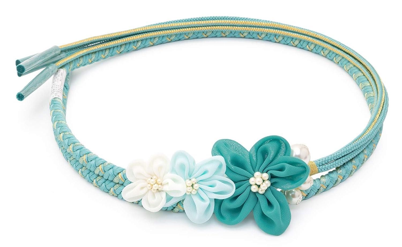 (ソウビエン) 帯締め 和風館 水色 花 フェイクパール 組紐 成人式 振袖向け 和装小物 日本製