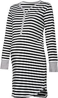 HAPPY MAMA. Womens Maternity Hospital Nightdress Nursing Nightie Stripes. 589p