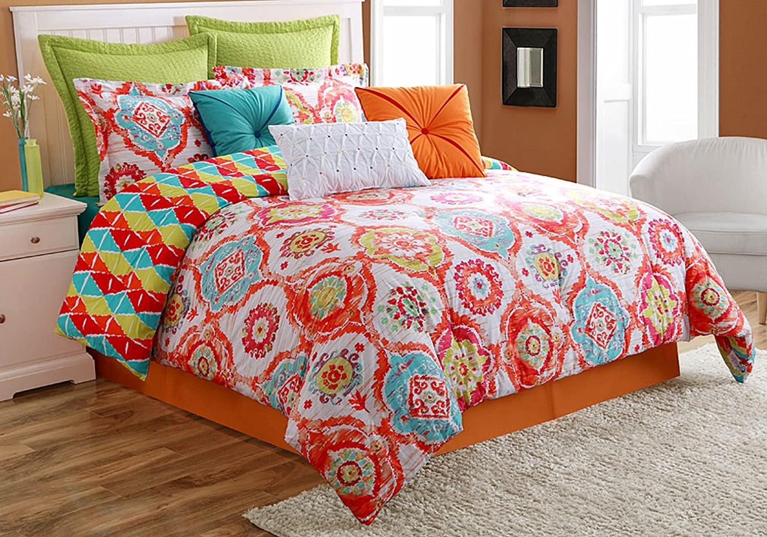 Fiesta 4-Piece Ava Comforter Set-Queen with Coordinating Bed Skirt and 2 Pillow Shams