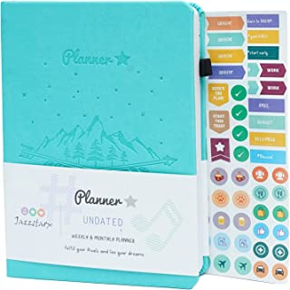 JAZZSTARX - PLANNER STAR UNDATED Monthly & Weekly Life Planner   A5 Size   Organizer , Gratitude Journal   Time Managemen...