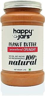 Happy Jars 100% Natural Unsweetened Crunchy Peanut Butter 1KG | Extra Crunchy | Gluten-Free | Vegan | No Oil | No Sugar | ...