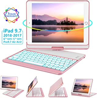 iPad Keyboard Case 9.7 for iPad 2018 (6th Gen) - 2017(5th Gen) - iPad Pro 9.7 - Air 2 & 1, 360 Rotate 7 Color Backlit Wireless/BT iPad Case with Keyboard, Auto Sleep Wake, 9.7 inch, Rose Gold