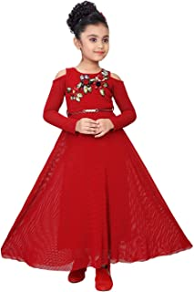 887786ab0 Pink Ribbons Girls Birthday Frock/Party Dress Red Net A-Line Ankle Length  Gown
