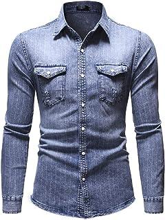 Men Denim Shirt Western Cowboy Shirt Slim Fit Basic Shirt Long Sleeve Kent Collar, Chest Pockets Vintage Shirt Spring and ...