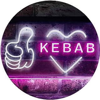 Kebab Restaurant Café Wall Décor Open Dual Color LED Neon Sign White & Purple 400 x 300mm st6s43-i2868-wp